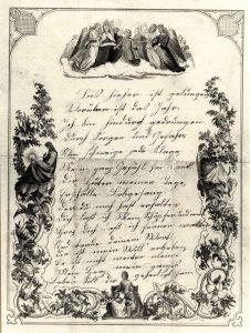 Neujahrsbrief aus Unna-Bönen aus dem Jahr 1873. Solche Gelegenheitspoesie entstammte häufig der Feder des Lehrers. Aufgabe der Kinder war es, die Gedichte in möglichst schöner Schrift abzuschreiben. Foto: LWL-Archiv