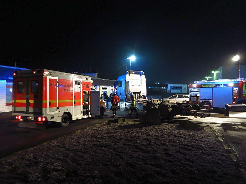 Tödlicher Unfall im Eingangsbereich von Amazon in Werne. Foto: Feuerwehr Werne