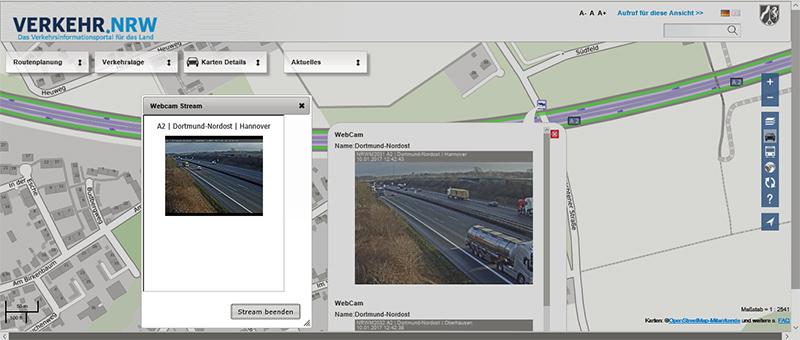 Kartesausschnitt für die A2 im Bereich Dortmund-Nordost. Die Fenster zeigen die Bilder von der Webcam in Fahrteichtung Hannover.