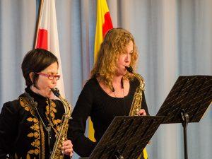 Für den musikalischen Rahmen sorgte das Altsaxophon-Duo Karin Recheleit-Hatzel und Nikola Seegers.